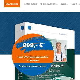 Modernes Webdesign für das Produkt Handwerksbüro PS