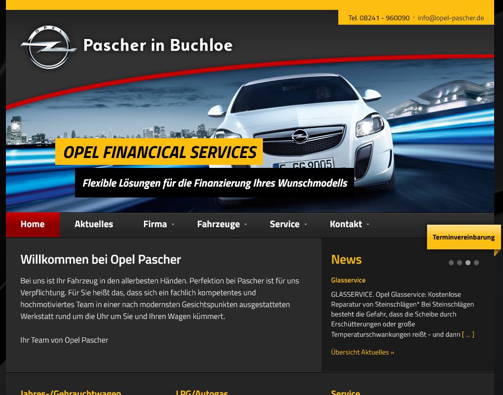 Internetauftritt Opel Pascher