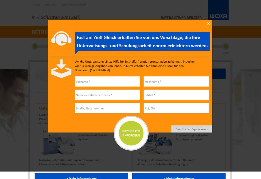 Interaktiver Kundenberater - Overlay