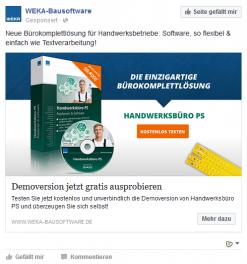 Facebook-Anzeige aus der begleitenden Social-Media-Kampagne