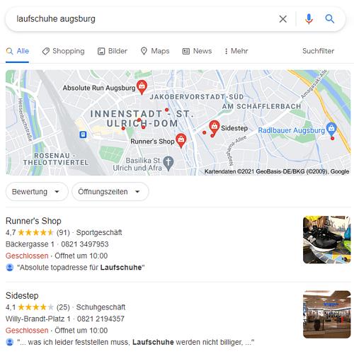 Lokale Suche bei Google My Business